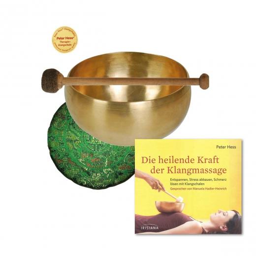 Set 1: CD Heilende Kraft der Klangmassage mit Herzklangschale, Schlägel, Satinkissen