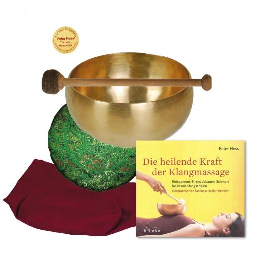 Set 2: CD Heilende Kraft der Klangmassage mit Herzklangschale, Schlägel, Satinkissen, Klangschalenbeutel