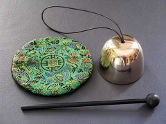 Zen Bell, mallett, satin cushion