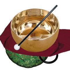 Set: Zen Klangschale mit Schlägel, Untersetzer und Beutel